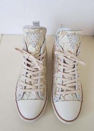 Кеды guess гипюр люрекс кожа оригинал кеды высокие кроссовки сникерсы