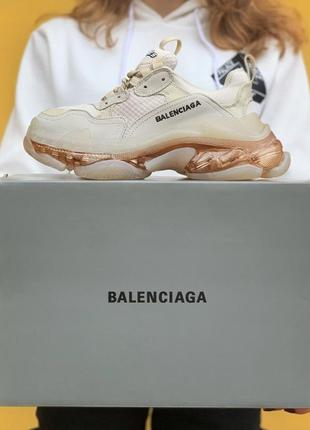 Кроссовки triple s clear sole cream gold  кросівки