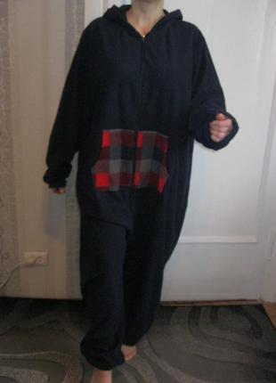 Флисовый халат домашний комбинезон кигуруми пижама большой размер 2-3-4хл наш 50-52-54