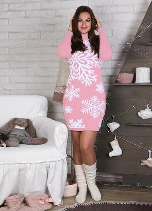 Зимнее платье розовое с белыми снежинками украина