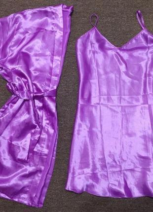 Нежный комплект пеньюар халат ночнушка пенюар 46 48 xl