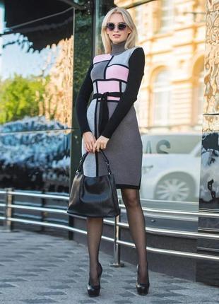 Красивое платье графит с розовым украина