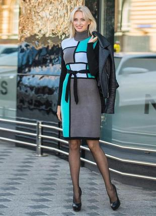 Элегантное платье цвет графити и мятный