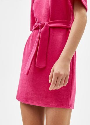 Мягкое платье туника с поясом и коротким рукавом {не на флисе}3 фото