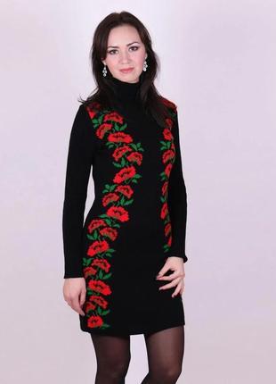 Черное платье с маками в украинском стиле
