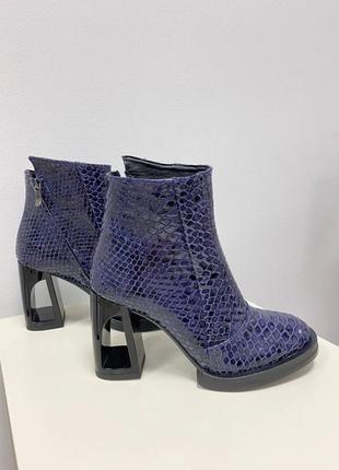 Невероятные ботинки ботильоны на необычном удобном каблуке полусапоги кожа замш