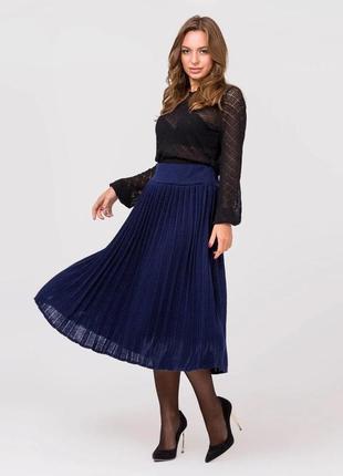 Синяя юбка плиссе миди оверсайз украина