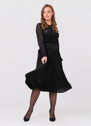 Черная юбка плиссе миди размер оверсайз