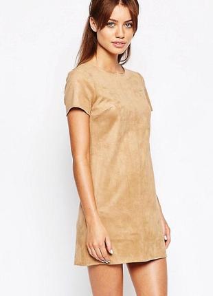 Замшевое платье camel new look