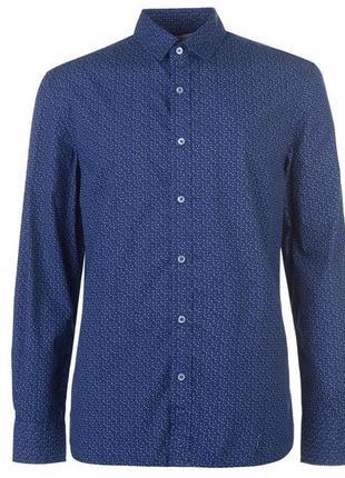 Синяя рубашка в узор  микропринт lee cooper