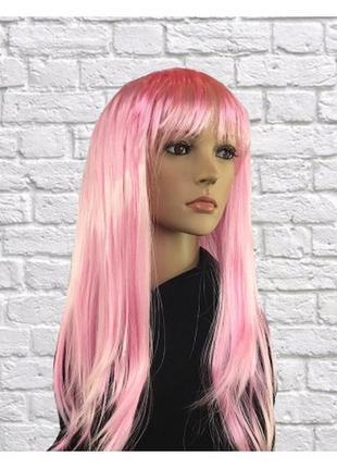 Парик маскарадный светло-розовый прямые волосы