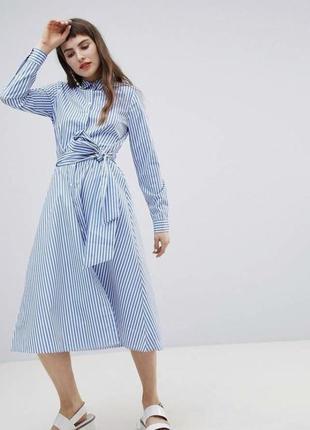 Хлопковое платье рубашка в полоску миди