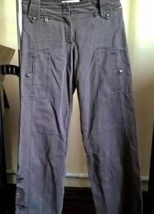 36 (s) брюки карго karen millen с вышивкой, джинсы штаны, оригинал