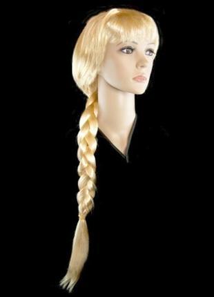 Парик снегурочки длинная коса блонд 75см