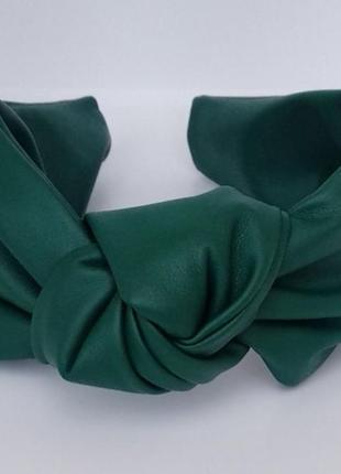 Обруч для волос ободок на голову из искусственной кожи чалма тюрбан узелок зеленый