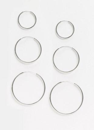 Набор базовых серьг-колец конго разных размеров 3 пары от asos