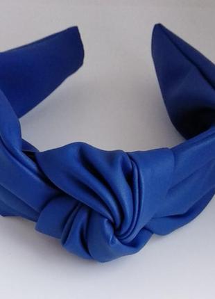 Обруч для волос ободок на голову из искусственной кожи чалма тюрбан узелок синий
