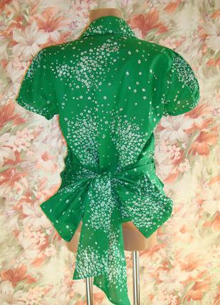 Блуза\рубашка летняя хлопковая\хлопок изумрудного цвета р.12-14