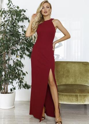 Длинное платье из фактурного трикотажа