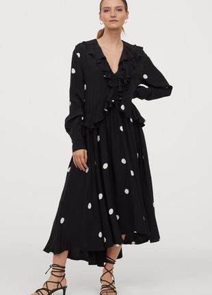 Стильное платье в горох h&m,p.m-l