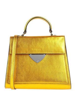Итальянская сумка coccinelle b14 medium, кожа, золото, оригинал