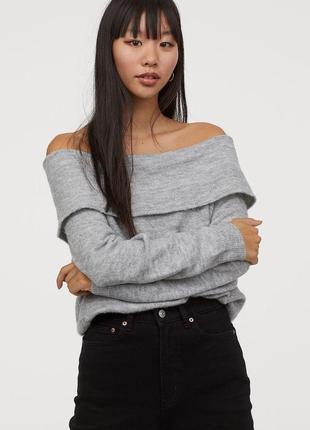 H&m серый джемпер свитер с открытыми плечами, xs, s