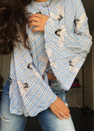 Блуза с журавлями