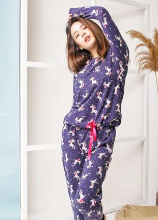 Комплект со штанами, фиолетовый - единороги
