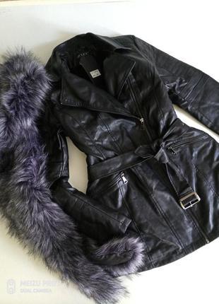 Крутая зимняя теплая куртка, кожзам, от бренда osley, 42 евро