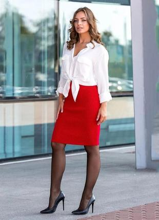 Вязаная юбка миди красного цвета украина