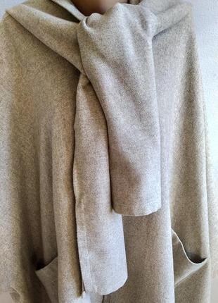 Пальто пончо с капюшоном, натуральная шерсть, one size