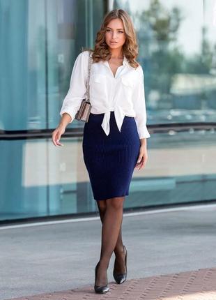 Синяя вязаная юбка миди украина