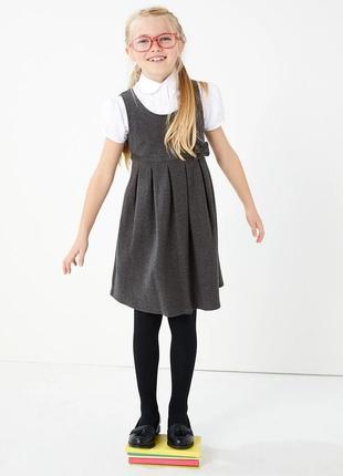 M&s идеальный школьный сарафан с бантиком на девочку 6-7 лет