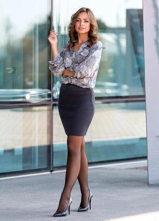 Вязаная юбка мини цвета графит украина