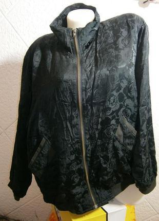 Свободная ветровка бомбер олимпийка шелк розы винтаж куртка
