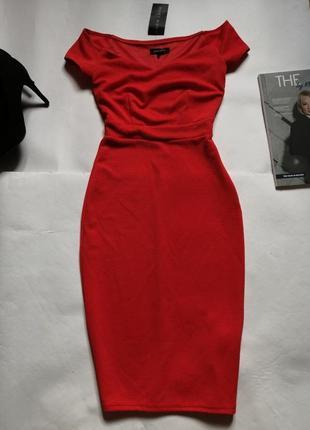 Новое красное платье миди ,р.34 (хс)