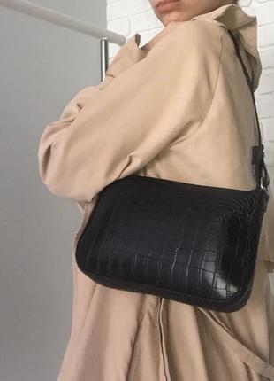 Сумка сумочка багет винтажная с ручкой черная стильная новая4 фото