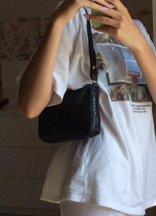 Сумка сумочка багет винтажная с ручкой черная стильная новая9 фото