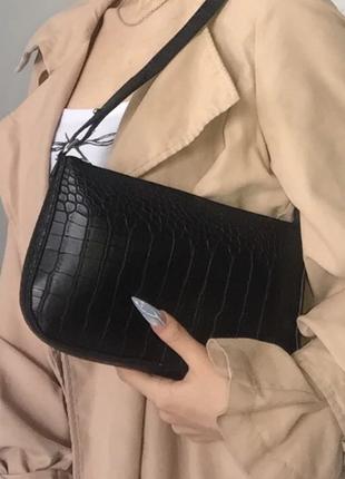 Сумка сумочка багет винтажная с ручкой черная стильная новая5 фото