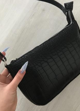 Сумка сумочка багет винтажная с ручкой черная стильная новая6 фото