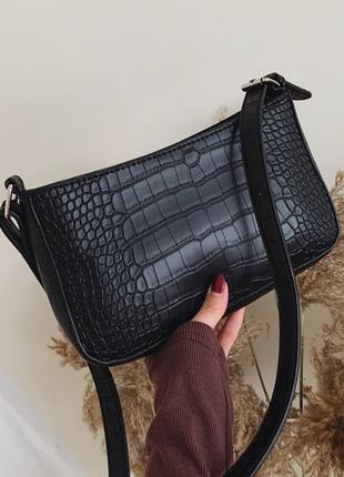 Сумка сумочка багет винтажная с ручкой черная стильная новая3 фото