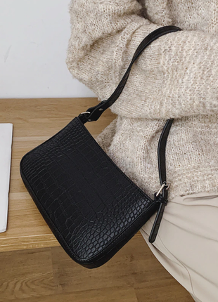 Сумка сумочка багет винтажная с ручкой черная стильная новая2 фото