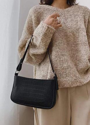 Сумка сумочка багет винтажная с ручкой черная стильная новая