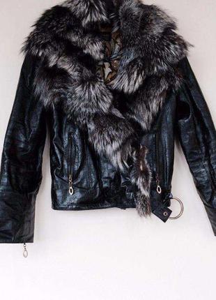 Куртка кожаная, мех чернобурки, 2в1