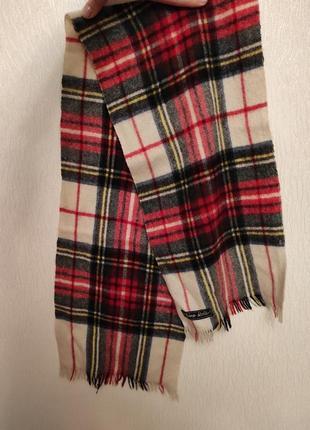 Теплый шерстяной шарф в клетку reine wolle