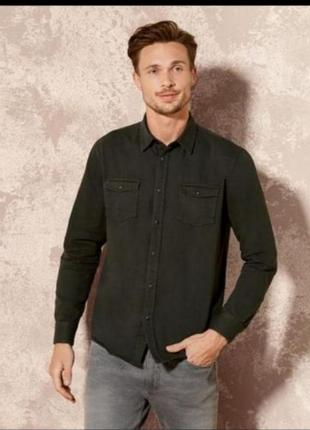 Мужская чёрная джинсовая рубашка livergy xl