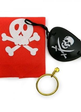 Набор пирата: платок-бандана серьга и повязка на глаз