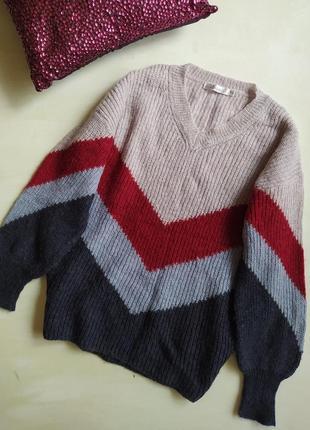 Теплый шерстяной свитер джемпер свободного кроя