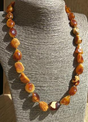 Янтарное ожерелье пейзажное, натуральный королевский янтарь тёмных оттенков