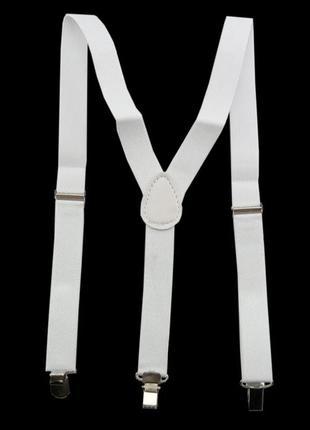 Подтяжки белые -аксессуар для гангстерской вечеринки
